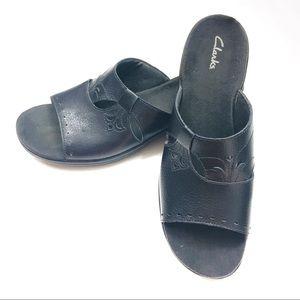 Clarks Shoes - Clarks Black Leather Slip On Mule Sandals